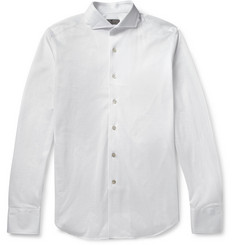 Canali Slim-Fit Spread Collar Cotton-Piqué Shirt
