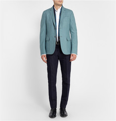 Canali Slim-Fit Spread Collar Cotton-Pique Shirt