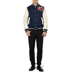 Maison Kitsuné Leather-Sleeved Wool-Blend Varsity Jacket