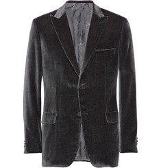Brioni Checked Cotton and Silk-Blend Velvet Blazer