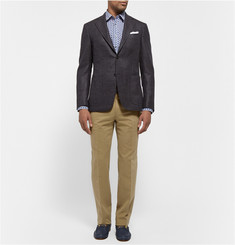 Brioni Slim-Fit Leather-Trimmed Brushed-Cotton Trousers