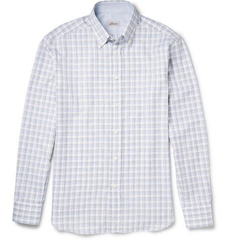 Brioni Checked Button-Down Collar Cotton Shirt