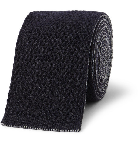 Brioni Reversible Knitted Cashmere and Silk Tie