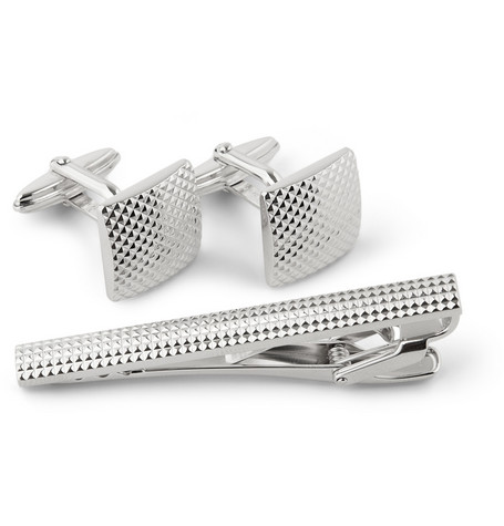 Lanvin Engraved Rhodium-Plated Cufflink and Tie Clip Set