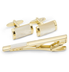 Lanvin Mother-of-Pearl Cufflink and Tie Clip Set