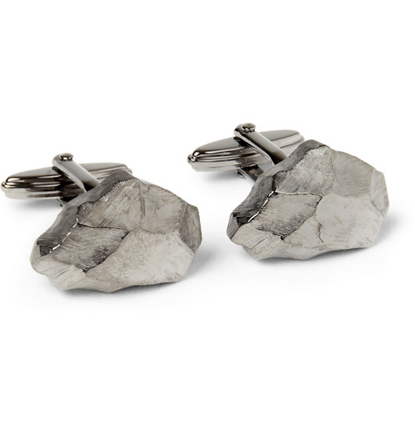 Lanvin Engraved Rhodium-Plated Cufflinks