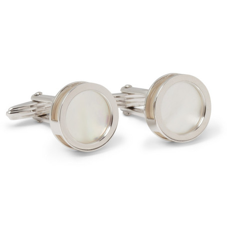 Lanvin Interchangeable Mother of Pearl and Onyx Cufflinks