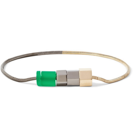Lanvin Bolt and Bead Two-Tone Metal Bracelet
