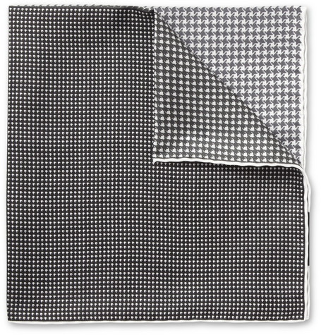 Lanvin Houndstooth-Print Silk Pocket Square