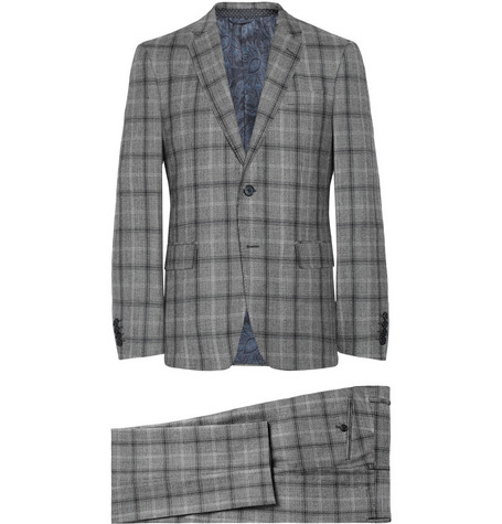 Etro Grey Slim-Fit Checked Wool Suit
