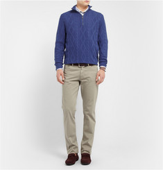 Etro Zip-Collar Cable Knit Cashmere Sweater