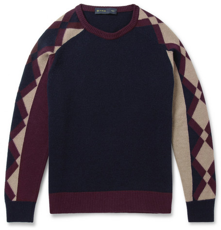 Etro Contrast-Sleeve Wool and Cashmere-Blend Sweater