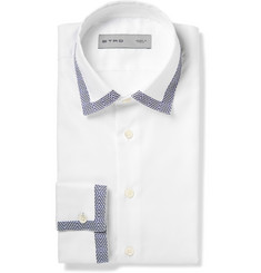 Etro White Slim-Fit Contrast-Trim Cotton Oxford Shirt