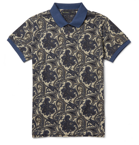 Etro Paisley-Patterned Cotton-Piqué Polo Shirt