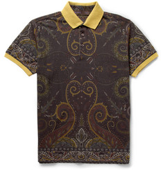 Etro Printed Cotton-Piqué Polo Shirt
