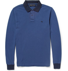 Etro Contrast-Trim Long-Sleeved Cotton-Piqué Polo Shirt