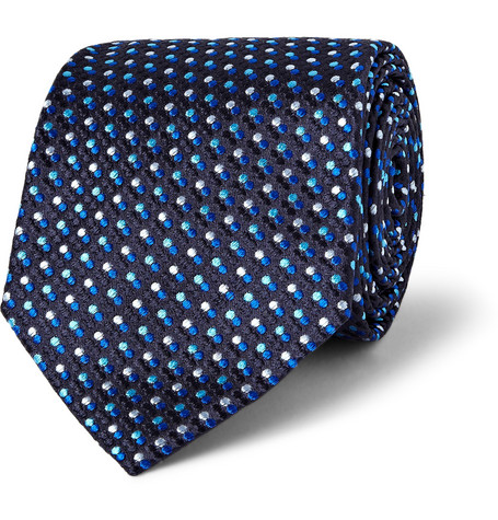 Etro Polka Dot-Embroidered Silk Tie