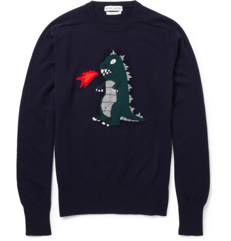 Michael Bastian Monster Intarsia Cashmere Sweater