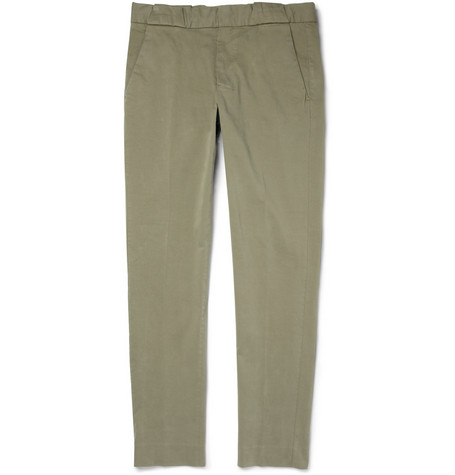 Michael Bastian Regular-Fit Washed Cotton-Blend Trousers
