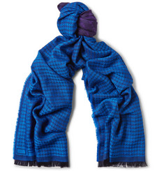 Etro Houndstooth Wool and Silk-Blend Scarf