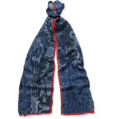 Etro Printed Wool and Yak-Blend Scarf