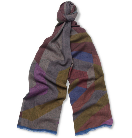 Etro Double-Sided Printed Wool and Silk-Blend Scarf