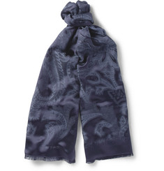 Etro Paisley Jaquard Silk and Wool-Blend Scarf
