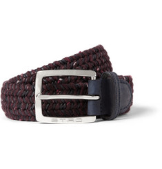 Etro 3.5cm Navy Woven Leather and Elasticated Fabric Belt
