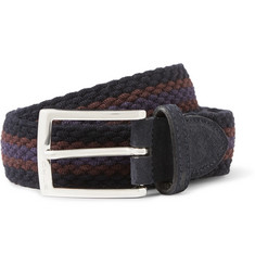 Etro 3.5cm Suede-Trimmed Stretch-Woven Belt