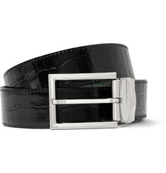 Etro Reversible 3.5cm Crocodile-Embossed Leather Belt