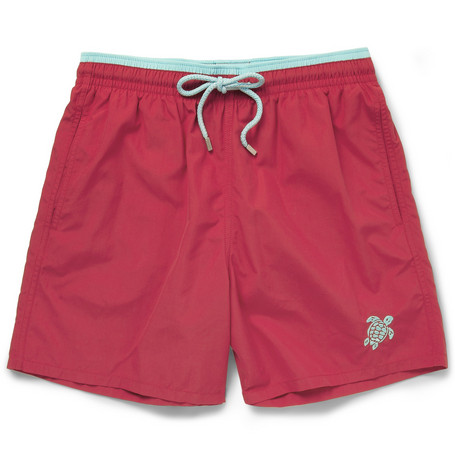 Vilebrequin Moka Mid-Length Turtle-Embroidered Swim Shorts