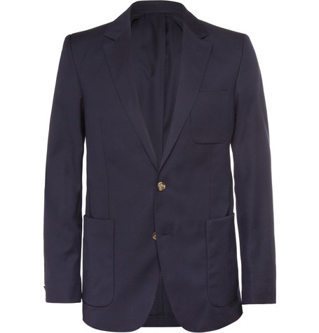 AMI Navy Slim-Fit Wool Suit Jacket
