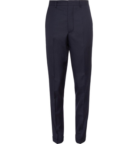 AMI Navy Tapered Wool Suit Trousers