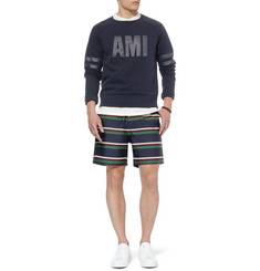 AMI Striped Wool and Cotton-Blend Shorts
