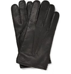 Mulberry Cashmere-Lined Full-Grain Leather Gloves