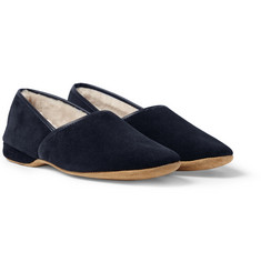 Derek Rose Shearling-Lined Suede Slippers