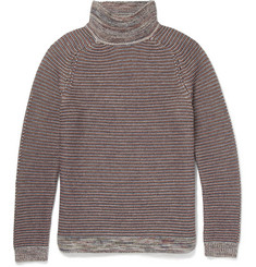 Folk Striped Knitted-Wool Rollneck Sweater