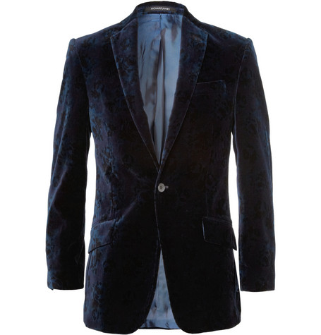 Richard James Slim-Fit Flower-Print Velvet Blazer