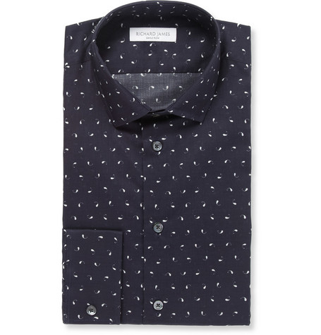 Richard James Navy Paisley-Print Lightweight Cotton Shirt