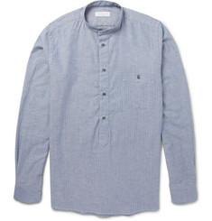 Richard James Donegal Herringbone Cotton-Blend Grandad Collar Shirt