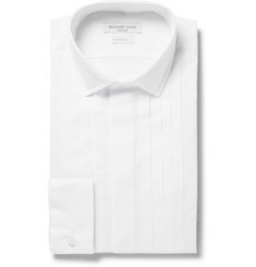 Richard James White Slim-Fit Pleated Cotton Tuxedo Shirt