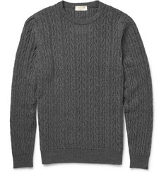 John Smedley Cable-Knit Merino Wool and Cashmere-Blend Sweater