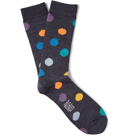 Paul Smith Shoes & Accessories Polka-Dot Wool-Blend Socks
