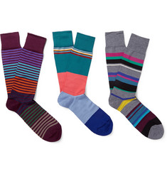 Paul Smith Shoes & Accessories Three-Pack Striped Cotton-Blend Socks