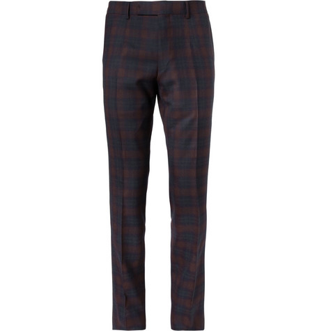 Alfred Dunhill Mayfair Slim-Fit Plaid Wool Trousers