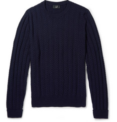 Alfred Dunhill Staghorn Cable-Knit Wool-Cashmere Sweater