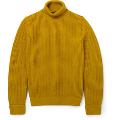 Dunhill Ribbed-Knit Rollneck Wool Sweater