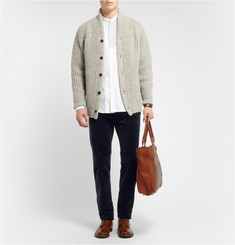 Massimo Alba Chunky Mouline-Wool Shawl-Collar Cardigan