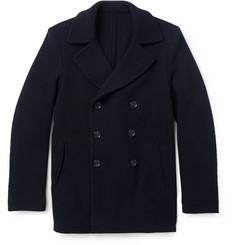 Incotex Montedoro Unstructured Woven Wool-Blend Peacoat