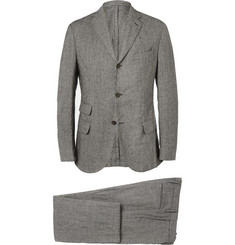 Incotex Black and White Slim-Fit Checked Wool-Blend Suit